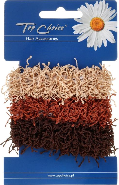 Elastice de păr 3 buc., maro - Top Choice