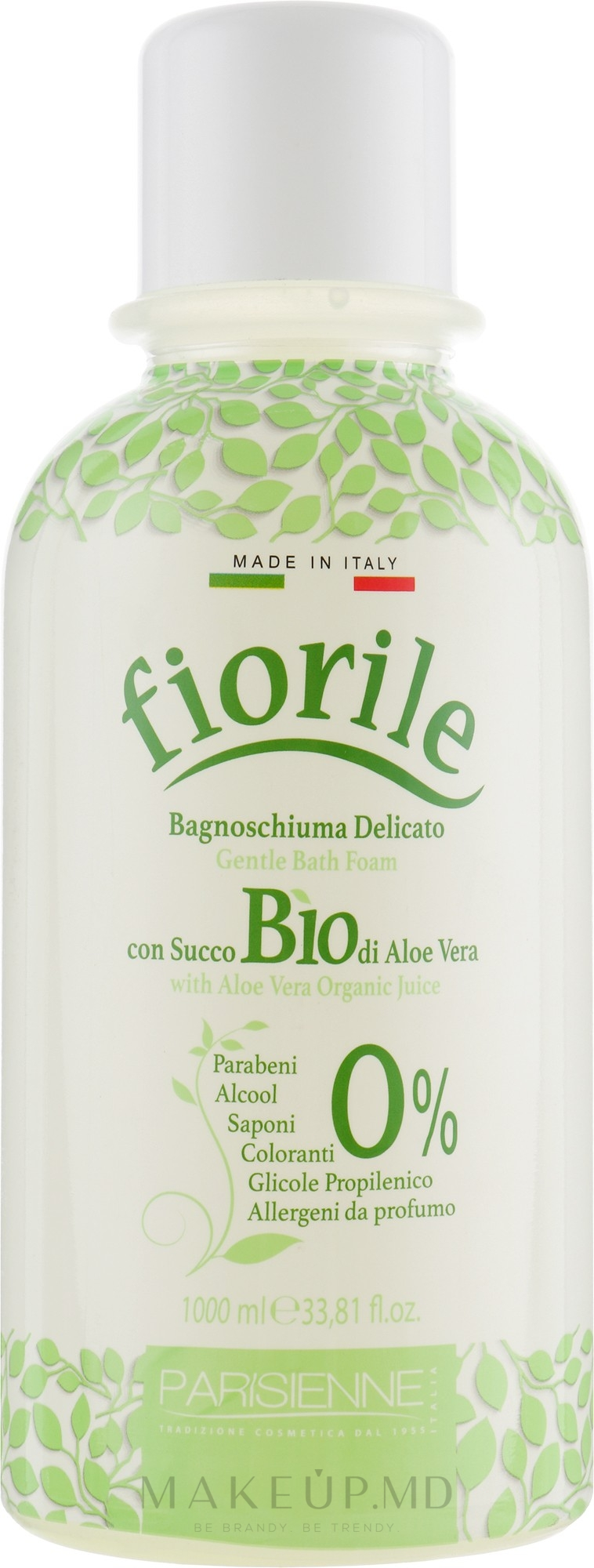 "Spumă de baie ""Aloe Vera"" - Parisienne Italia Fiorile BIO Aloe Vera Bath Foam — Imagine 1000 ml"