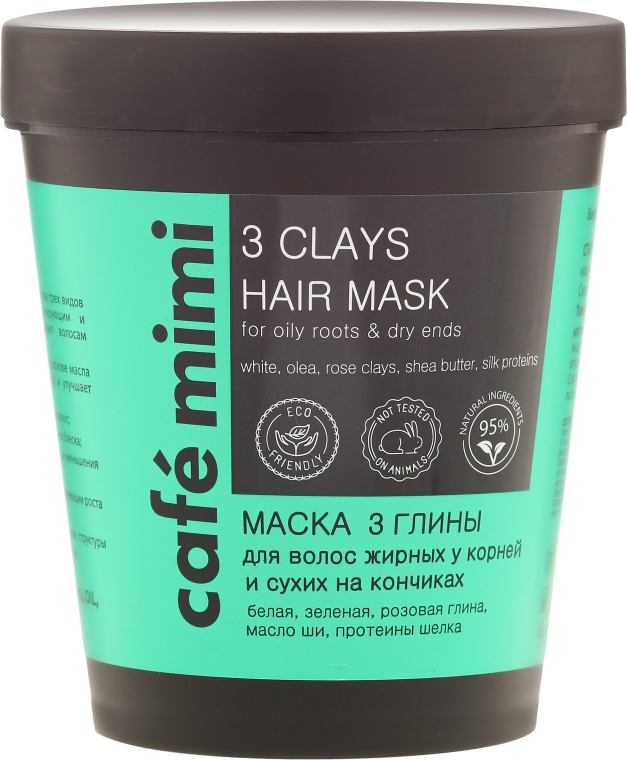 Mască de păr cu 3 tipuri de argilă - Cafe Mimi Mask