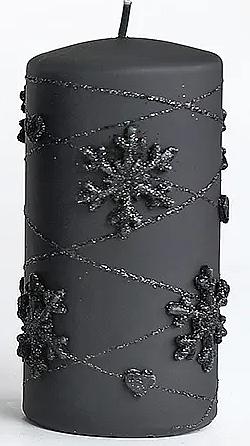 Lumânare decorativă, neagră, 7x14 cm - Artman Snowflake Application — Imagine N1