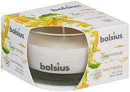 Parfumuri și produse cosmetice Świeca zapachowa w szkle Mango i bergamotka, 50/80 mm - Bolsius True Moods Feel Happy Candle