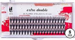 Parfumuri și produse cosmetice Gene false, C 0,1 mm, 8 mm - Ibra Extra Double 20 Flares Eyelash C 8 mm