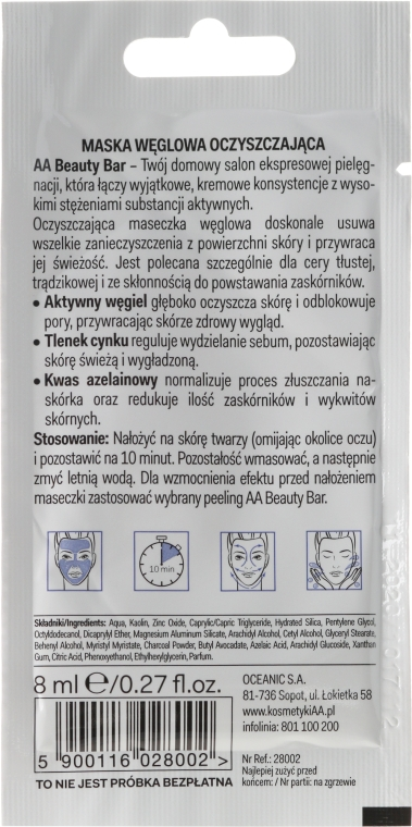 "Mască de față cu cărbune ""Purificare"" - AA Beauty Bar Cleansing Carbon Mask  — Imagine N2"