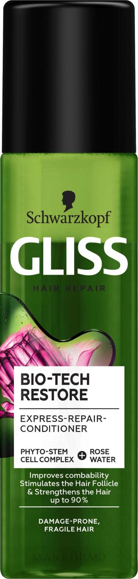Balsam-spray de păr - Schwarzkopf Gliss Kur Bio-Tech Restore — Imagine 200 ml