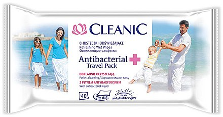Șervețele umede antibacteriale, 40 bucăți - Cleanic Antibacterial Wipes — Imagine N1