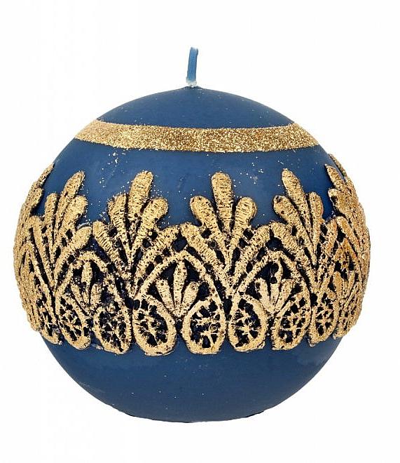 Lumânare decorativă, bilă, albastră, 10 cm - Artman Koronka Lace Christmas — Imagine N1
