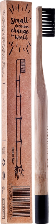 Periuță de dinți din bambus, duritate medie, cu peri negri - Mohani Toothbrush