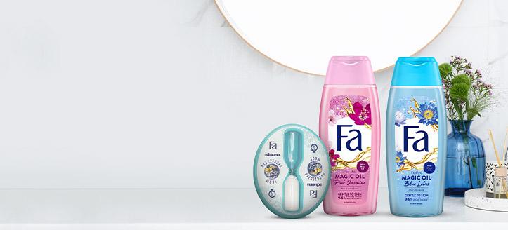 La achiziționarea produselor promoționale Fa începând cu suma de 70 MDL,  primești cadou un ceas clepsidră pentru duș