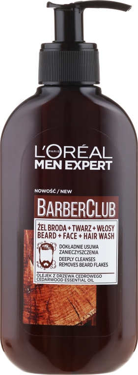 Gel de curățare 3 în 1 pentru barbă, față și păr - L'Oreal Paris Men Expert Barber Club