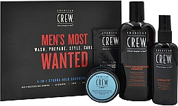 Parfumuri și produse cosmetice Set - American Crew Men's Most Wanted Strong Hold (shm/250ml + cr/50g + spray/100ml + balm/7.4ml)