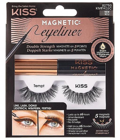 Gene false cu magneți - Kiss Magnetic Eyeliner & Lash Kit KMEK02 Tempt — Imagine N1