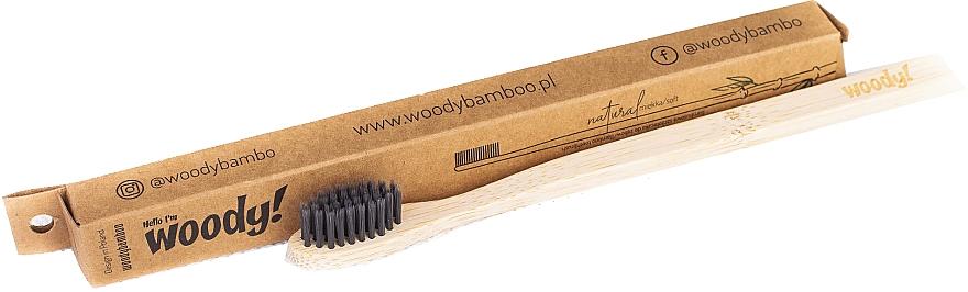 Periuță de dinți din bambus, moale, peri negri - WoodyBamboo Bamboo Toothbrush Natural