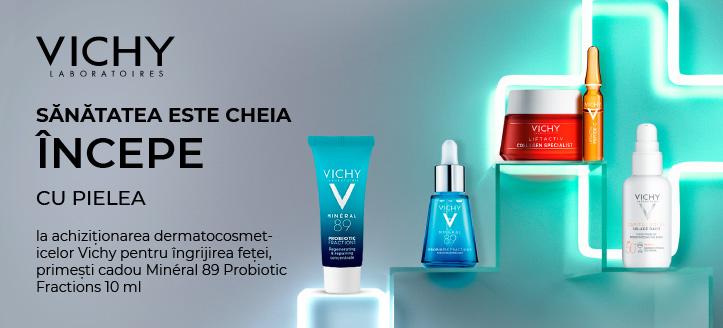 La achiziționarea dermatocosmeticelor Vichy pentru îngrijirea feței, primești cadou Minéral 89 Probiotic Fractions 10 ml