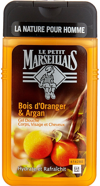 "Gel de duș ""Portocal și Argan"" - Le Petit Marseillais Men Body and Hair"
