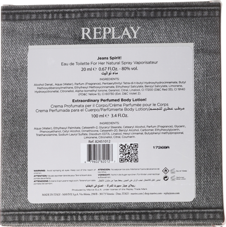 Replay Jeans Spirit! For Her - Set (edt/20ml + b/lot/100ml)  — Imagine N2