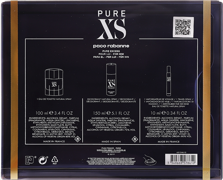 Paco Rabanne Pure XS - Set (edt/100ml + edt/mini/10ml + deo/150ml) — Imagine N2