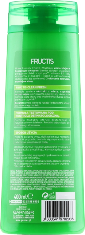 Șampon de păr anti-mătreață - Garnier New Fructis Clean Fresh Shampoo — Imagine N3