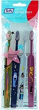 Parfumuri și produse cosmetice Periuțe de dinți pentru copii, verde + albastru + albastru + roz - TePe Kids Extra Soft