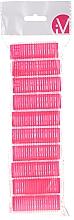 Parfumuri și produse cosmetice Bigudiuri Velcro, 499600, roz - Inter-Vion