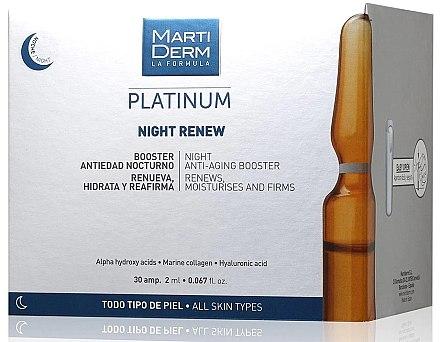 Fiole anti-îmbătrânire de noapte pentru față - MartiDerm Platinum Night Renew Ampollas — Imagine N1