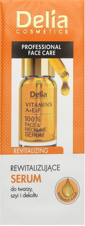 Ser antirid pentru față și decolteu cu vitaminele A, E, F - Delia Face Care Anti-Wrinkle and Revitalizing Face Neckline Intensive Serum