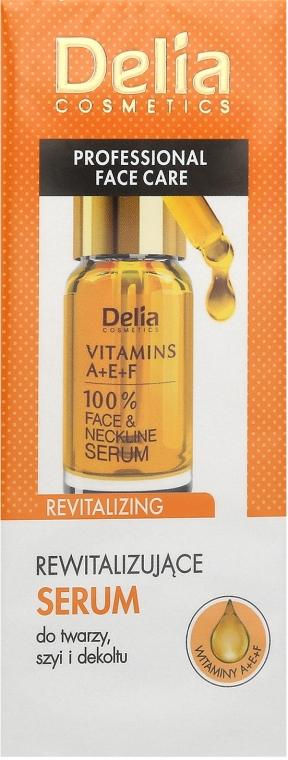 Ser antirid pentru față și decolteu cu vitaminele A, E, F - Delia Face Care Anti-Wrinkle and Revitalizing Face Neckline Intensive Serum