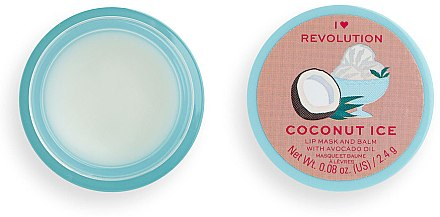 Balsam-mască de buze - I Heart Revolution Coconut Ice Lip Mask & Balm