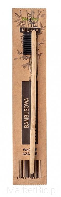 Periuță de dinți, din bambus, moale, neagră - Bio4You
