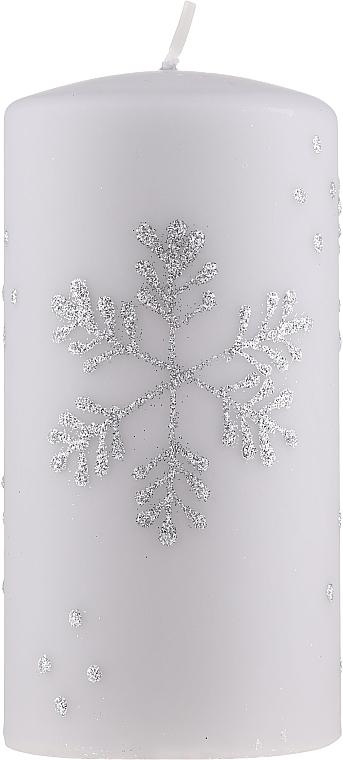 """Lumânare decorativă """"Fulg de zăpadă"""", 7x14cm, gri - Artman Christmas — Imagine N1"""