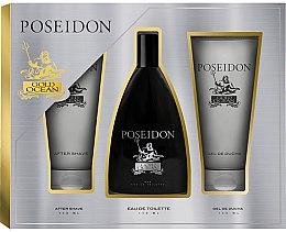 Parfumuri și produse cosmetice Instituto Espanol Poseidon Gold - Set (edt/150ml+ash/balm/150ml+sh/gel/150ml)