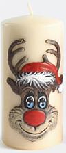 """Parfumuri și produse cosmetice Lumânare decorativă """"Rudolph"""", cream, 7x18cm - Artman Christmas Candle Rudolf"""