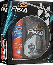 Parfumuri și produse cosmetice Set - Bic Flex 4 Comfort (razor/3cubăți + foam/250ml)