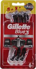 Parfumuri și produse cosmetice Set aparate de ras de unică folosință, 5+1 buc. - Gillette Blue III Red and White
