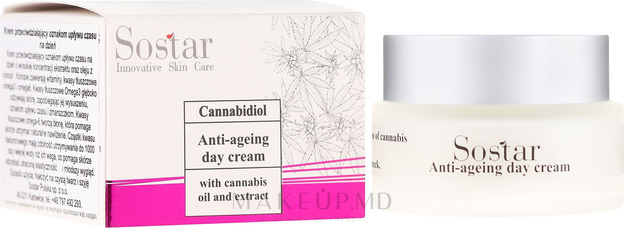 Cremă anti-îmbătrânire cu extract de cânepă, de zi pentru față - Sostar Cannabidiol Anti Ageing Day Cream With Cannabis Extract — Imagine 50 ml