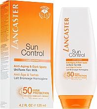 """Parfumuri și produse cosmetice Lapte anti-îmbătrânire de protecție solară """"Bronz uniform"""" împotriva petelor pigmentare SPF50 - Lancaste Sun Control Body Uniform Tan Milk Spf 50"""