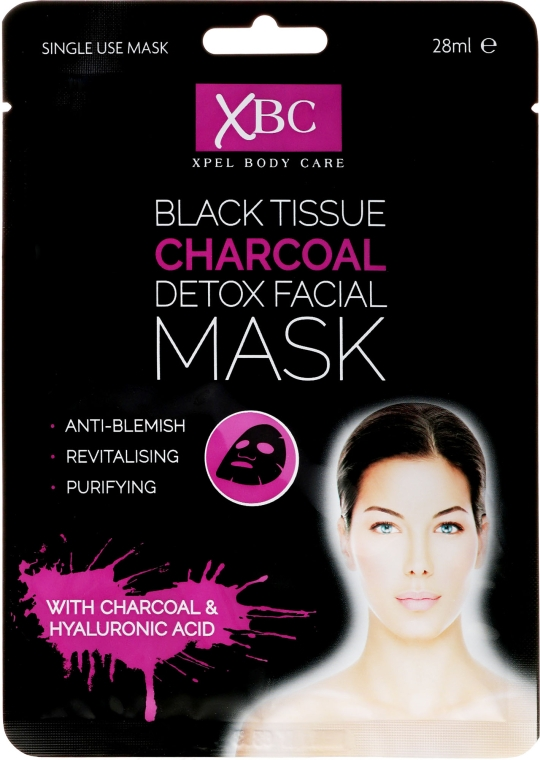 Mască de curățare pentru față, cu argilă - Xpel Marketing Ltd Body Care Black Tissue Charcoal Detox Facial Face Mask — Imagine N1
