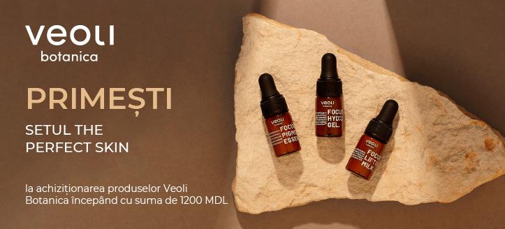 La achiziționarea produselor Veoli Botanica,  începând cu suma de 1200 MDL, primești în dar setul The Perfect skin
