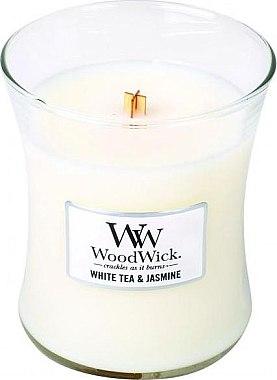 Lumânare aromată cu suport din sticlă - WoodWick Hourglass Candle White Tea & Jasmine — Imagine N1