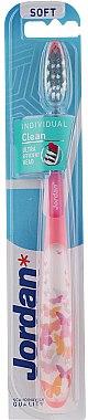 Periuță moale de dinți Individual Clean, roz cu fluturași - Jordan Individual Clean Soft — Imagine N1