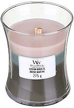 Parfumuri și produse cosmetice Lumânare aromată cu suport din sticlă - WoodWick Hourglass Trilogy Candle Ocean Breeze