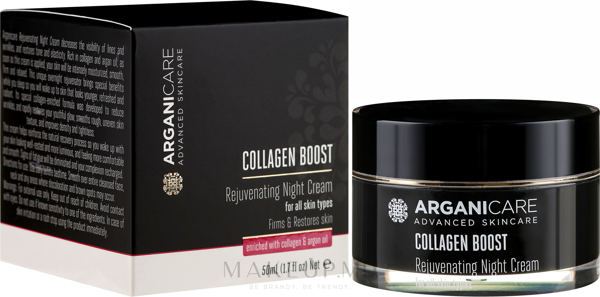Cremă anti-îmbătrânire de noapte pentru față - Arganicare Collagen Boost Rejuvenating Night Cream — Imagine 50 ml