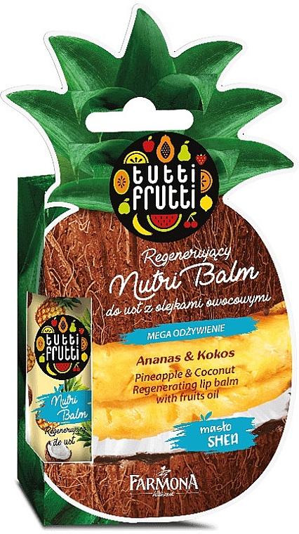 """Balsam de buze """"Ananas și Nucă de cocos"""" - Farmona Tutti Frutti Regenerating Lip Balm Pineapple & Coconut"""