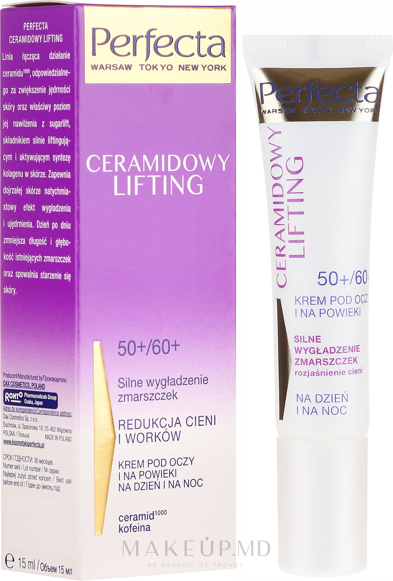 Cremă pentru pleoape - Perfecta Ceramid Lift 50+/60+ Eye Cream — Imagine 15 ml
