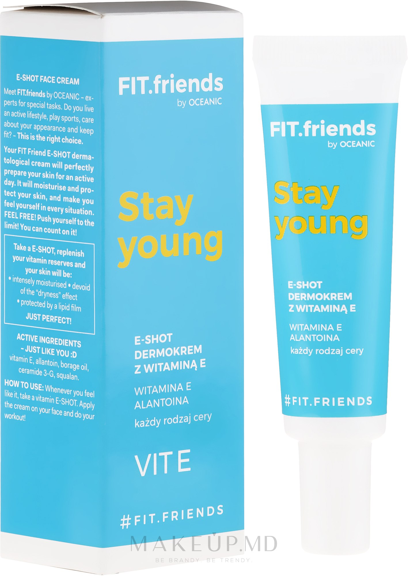 Cremă cu vitamina E pentru față - AA Fit.Friends Stay Young E-Shot Dermocream — Imagine 30 ml