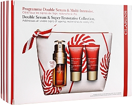 Parfumuri și produse cosmetice Set - Clarins Double Serum & Super Restorative (ser/30ml + cr/15ml + n/cr/15ml + bag)