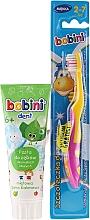 Parfumuri și produse cosmetice Set cu periuță galben-roz - Bobini (toothbrush + toothpaste/75ml)