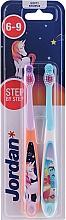 Parfumuri și produse cosmetice Periuță de dinți, 6-9 ani, unicorn și delfin - Jordan Step By Step Soft