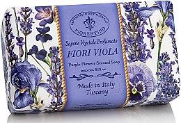 """Parfumuri și produse cosmetice Săpun natural """"Violetă"""" - Saponificio Artigianale Fiorentino Purple Flowers Scented Soap"""
