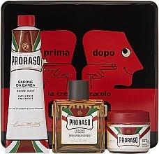 "Parfumuri și produse cosmetice Set - Proraso Classic Shaving Metal Red ""Primadopo"" (pre/cr/100ml + sh/cr/150ml + ash/cr/100ml)"
