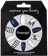 Parfumuri și produse cosmetice Set de unghii false, albastru cu alb - Donegal Express Your Beauty